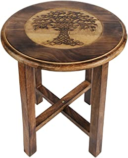Aheli Wooden Decorative Coffee Side End Table Stool Hand Carved with Tree of Life Design Corner Table for Home Living Room