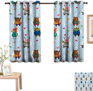 Superlucky Nursery Drapes for Living Room Collection of Animals with Winter Clothing Hats Hot Coffee on a Dotted Background 55