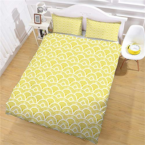 CLQPYQ Bedding Quilt Cover,3 Pieces Yellow Dragon Scale Easy-Care Microfiber Soft Bedding,With 1 Hidden Zipper Quilt Cover 200X200Cm + 2 Pillowcases 50X75Cm,Suitable For Child Bedding Set