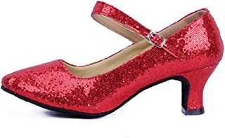 staychicfashion Women's Glitter Latin Ballroom Dance Shoes Pointed-Toe Y Strap Dancing Heels Black/Red