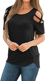 Women T-Shirt Summer Short Sleeve Strappy Cold Shoulder Tops Blouses