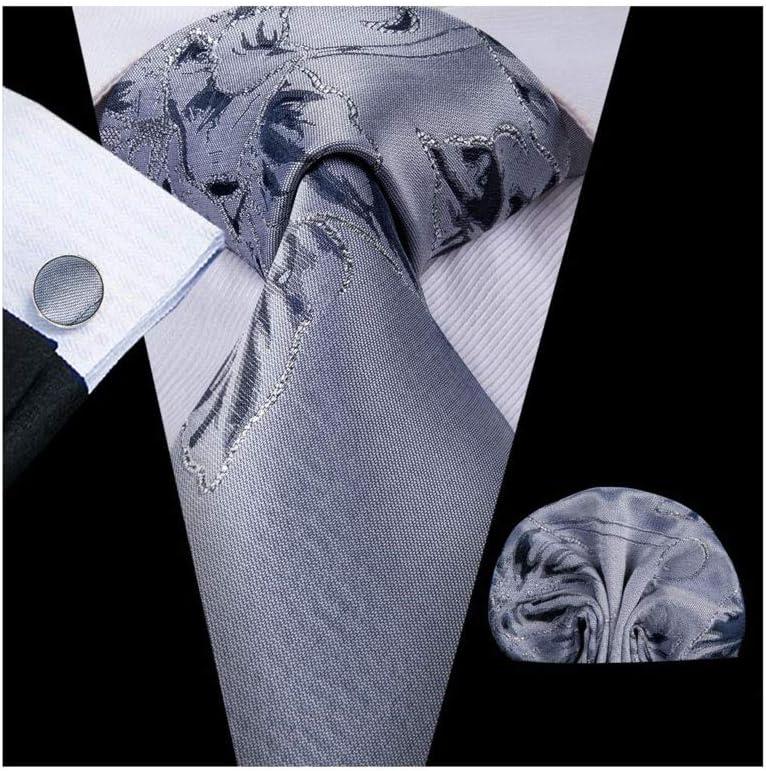 NJBYX Gray Solid Gift Mens Necktie Silk Wedding Tie for Men Hanky Cufflink Set Fashion (Color : A)