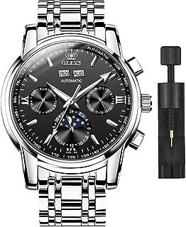 OLEVS Reloj mecánico automático para hombre, resistente al agua, cronógrafo automático de lujo con frase lunar luminosa, r...