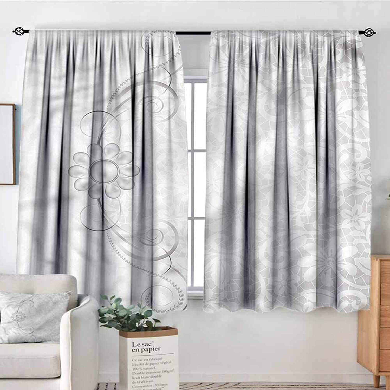 Sanring Grey,Rod Curtains Bridal Flourish Motifs 52 x63  Backout Curtains for Kids Iving Room
