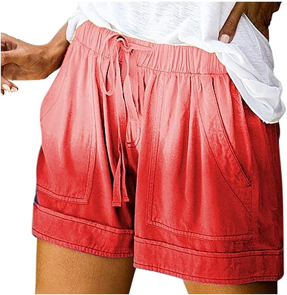 Hessimy Womens Summer Shorts Casual,Womens Drawstring Elastic Waist Casual Summer Loose Beach Shorts with Pockets