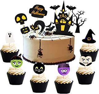 Set of 38 Halloween Cake Topper Haunted House Cake Topper Halloween Cake Decoration Wizard Cupcake Topper Ghost Cake Decoration Pumpkin Cupcake Decoration for Wizard Party Ghost Party Spider Party