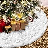 Queta Weihnachtenbaum Rock mit Schneeflocke Pailletten Weihnachtsbaumdecke Christbaumständer...