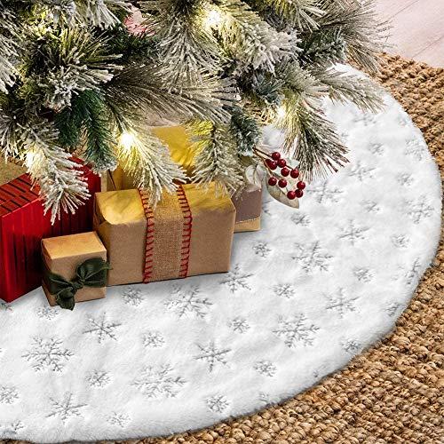 Queta Weihnachtenbaum Rock mit Schneeflocke Pailletten Weihnachtsbaumdecke Christbaumständer Teppich Decke für Weihnachten Dekor, 90 cm
