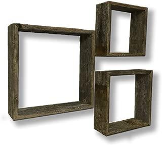 Decorative Wooden Wall Shelves - Barnwood Open Box Display Shelves - Set of 3