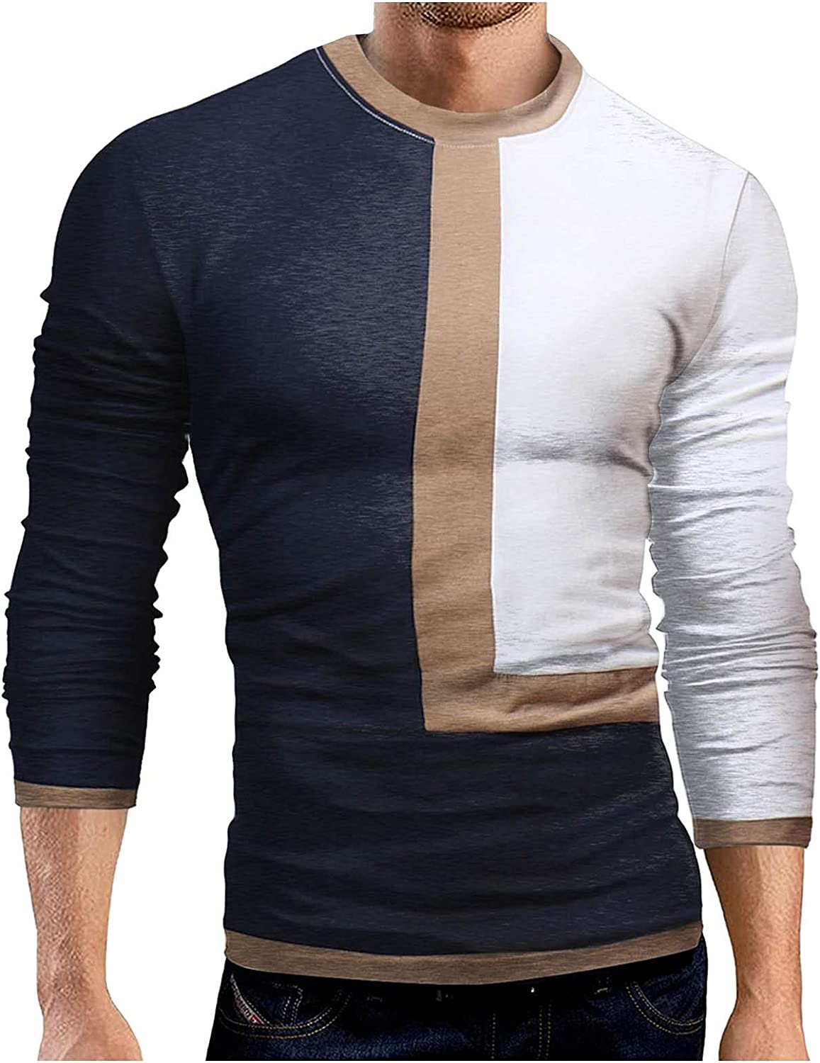 Huangse Men's UPF 50+ Sun Protection SPF Long Sleeve Shirts Color Block O Neck Quick Dry Lightweight Running T-Shirts