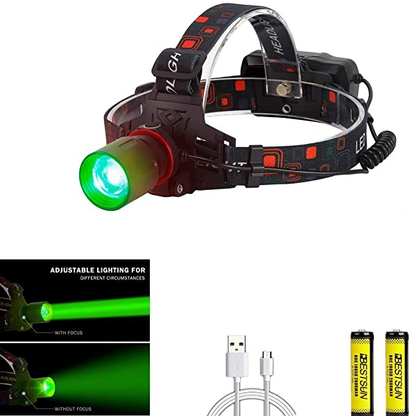 BESTSUN Hunting Headlamp Zoomable Brightest Green CREE XML T6 LED Night Hunting Light Waterproof Rechargeable Headlight For Coyote Hog Varmint Predator With Rechargeable Batteries And USB Cable