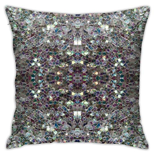 HaiYI-ltd Sparkly Colourful Silver Mosaic Pillow Case Daily Decoration Throw Pillowcase Sofa Bedroom Car Cushion Cover Pillow Cover 18'x 18'