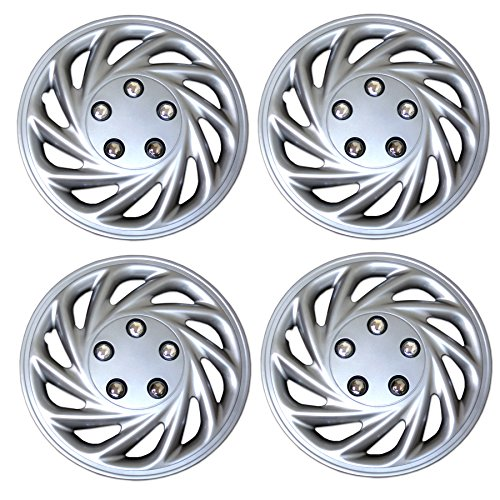TuningPros WSC3-868S15 4pcs Set Snap-On Type (Pop-On) 15-Inches Metallic Silver Hubcaps Wheel Cover