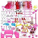 WENTS Accesorios para Muñecas Dolls 118 Piezas Ropa y Zapatos para Dolls Mini Vestidos de Moda para Dolls Perchas y Accesorios de Cocina Regalo de Cumpleaños Niñas