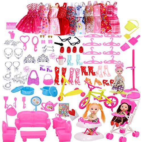 WENTS Kleidung zubehör Set 118PCS Puppenkleidung Partei-Kleid Outfits und Accessoires 10 Pack Kleider 108Pcs Accessoires für Barbie Puppen Geburtstag Party für Mädchen für 30CM Doll