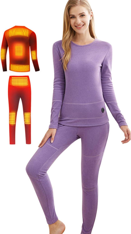 JH&MM Woman Thermal Underwear Suit Intelligent Constant Temperature Three-Speed Adjustment Suitable Shirt + Pants 8 Heating Zones,Purple,XL