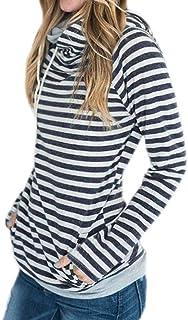 Honghu女性長袖ストライプパッチワークルーズカジュアルパーカーポケットプルオーバーチュニック快適なブラウス上着(ブルー、2 XL)