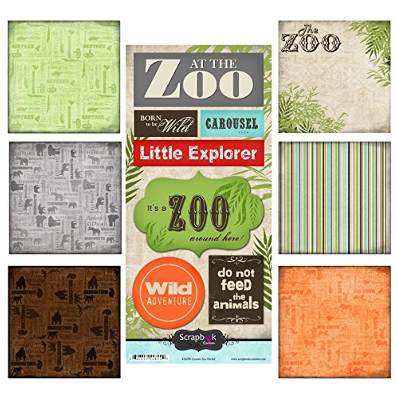 Scrapbook Customs Themed Paper and Stickers Scrapbook Kit, Zoo