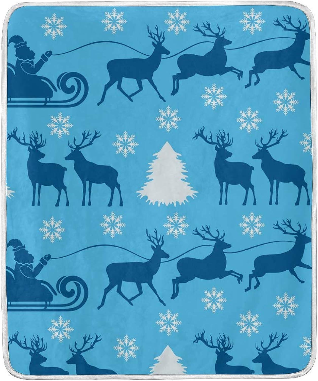 Vantaso Blankets Reindeer Santa Claus White Snowflake Throws Soft Kids Girls Boys 50x60 inch