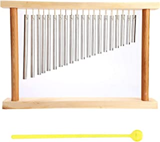 Table Top Bar Chime, 20-Tone Windbell Percussion Instrument with Solid Aluminum Pipe and Wooden Stand Stick for Ornament House Classroom Office Decoration Kids Educational Kids Gift