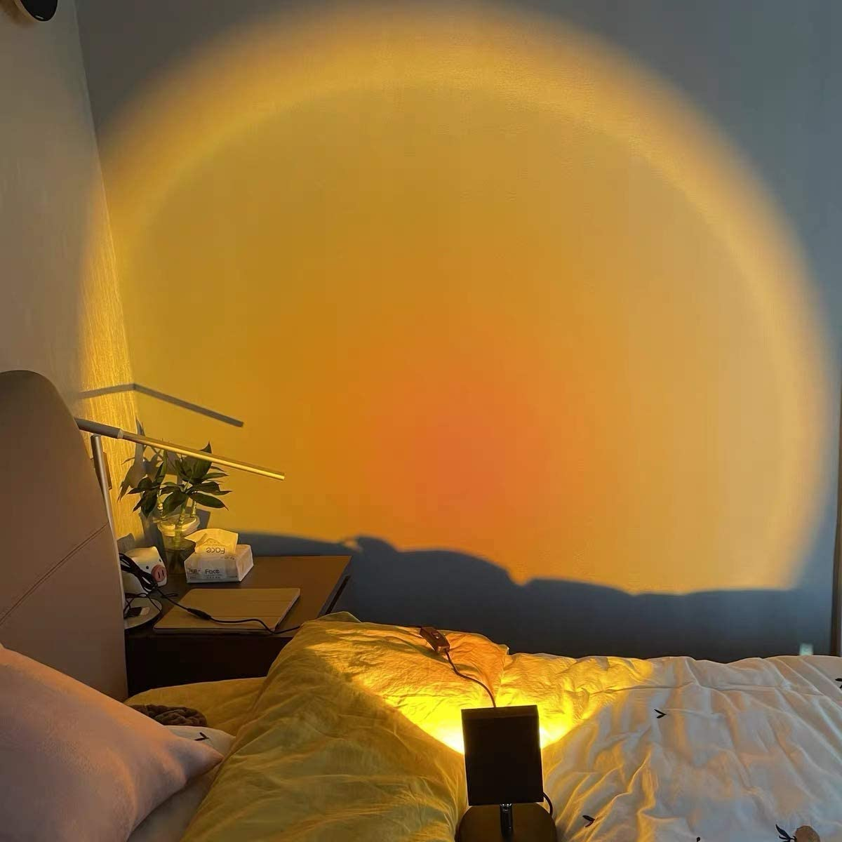 Rainbow Sunset Projection Lamp,Floor Stand Night Light Projector,180 Degree Rotated Rainbow Projection Led Light,for Living Room Bedroom Romantic Projector Gift for Wedding Birthday Party