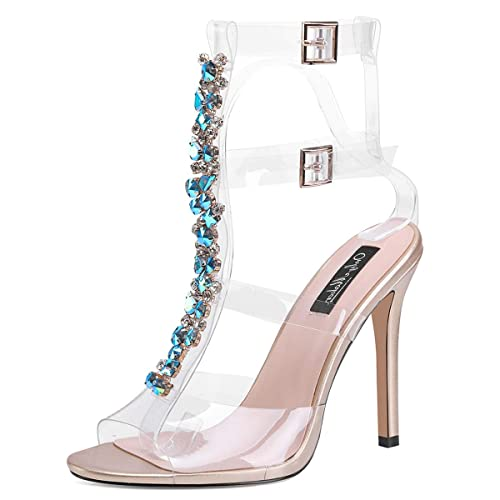 f2bd028d50b8 onlymaker Womens Ankle Strap Buckle Cutout Gem Clear Stiletto High Heels  Gladiator Transparent Strip Sandals with