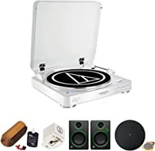 Audio-Technica Fully Automatic Wireless Belt-Drive Stereo Turntable - White (AT-LP60WH-BT) with Record Cleaning System, Replacement Stylus for AT-LP60 & AT-LP60USB Models & Multimedia Monitor (Pair)