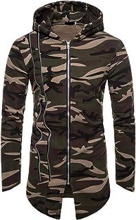Men Chic Camouflage Cardigan Hoodies Jacket Full Zip Breathable Gym Sport Longline Slim Fit Asymmetrical Top Sweatshirt Li...