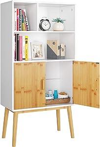 HOMECHO Estantería LibreríaModerno Estantería para Libros y Almacenaje para Salón Dormitorio, Sala de Estudio, Oficina con 2 Puertas 3 Compartimentos 60x30x120 cm