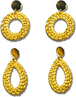 Handmade Woven Rattan Hoop Earrings Lightweight Straw Wicker Braid Drop Dangle Bohemia Weave Raffia Earrings