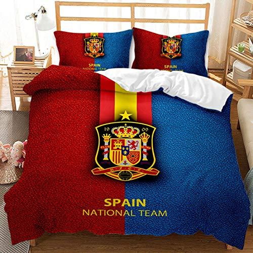 QXbecky Football Team Logo Bedding, Soft Microfiber Quilt Cover, Pillowcase, 2, 3-Piece Set, Hidden Zipper Double Bed