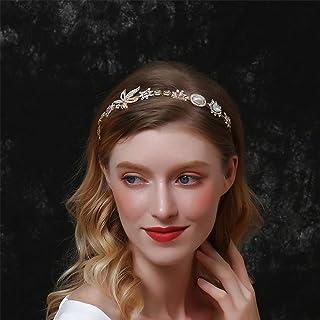 Aimimier Baroque Bridal Crystal Headband Vintage Embellished Pearl Gemstone Crown Delicate Maple Leaf Hair Hoop for Women ...