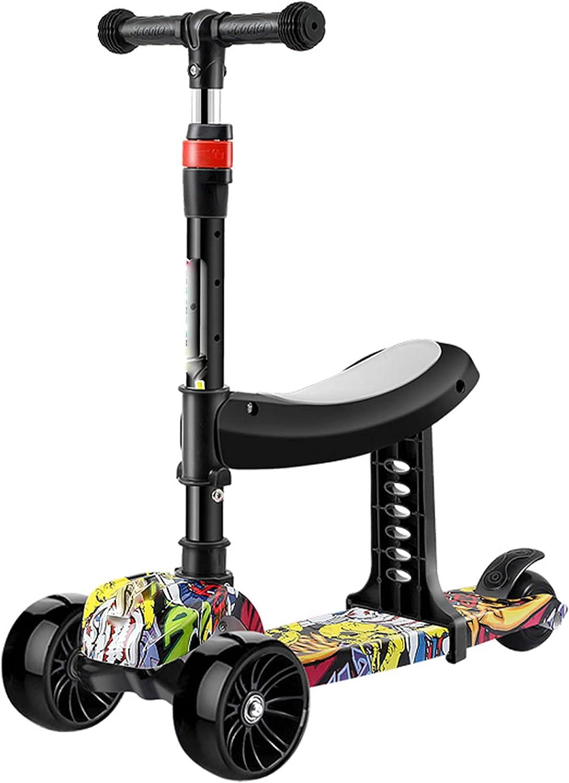 De múltiples fines Scooter for niños de 3 ruedas es adecuado for niños mayores de 2 años y niñas con 3 ruedas anti-vibraciones altura de manillar ajustable de peso máximo 50 kg -b / d ( Color : A )