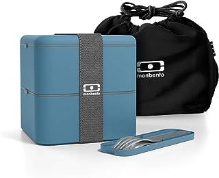 Monbento - ランチボックスMBポシェットブラックとカトラリーMBポケットデニムが付いているお弁当箱MBスクエアデニム