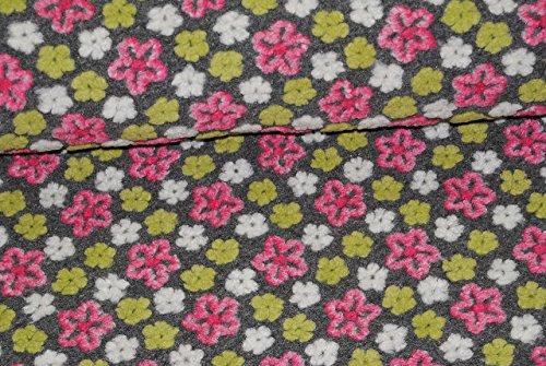 alles-meine.de GmbH 0,5 m * 1,5 m - Stoff Filz - gefilzt - grau & bunten / pink & grünen - Blumen Ranke Blütenranke - Strickstoff Wolle - Meterware zum Nähen / Winterstoff Filzst..