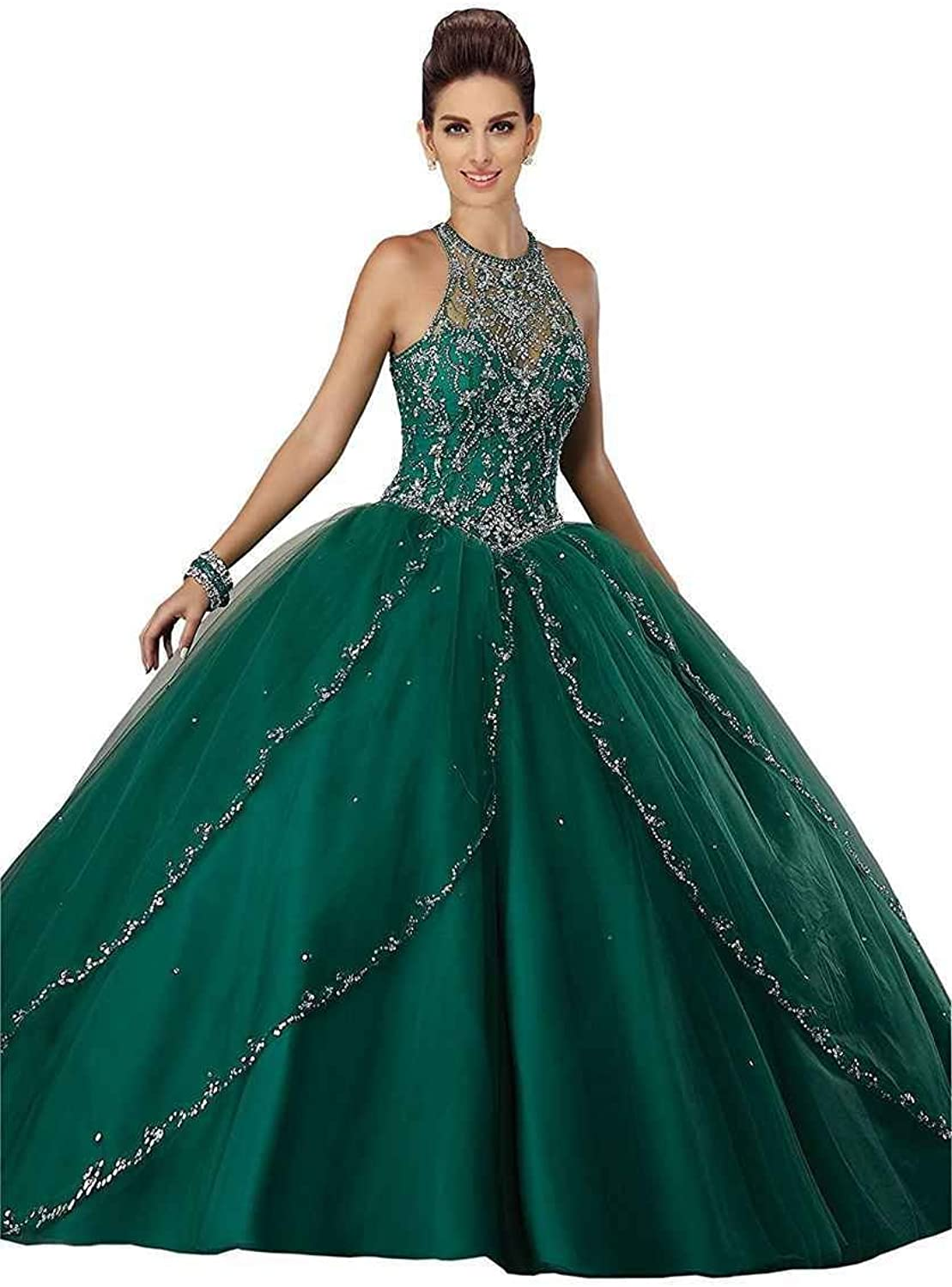 LastBridal Women Tulle Beaded Crystal Lace Up Ball Gown Sweet 16 Quinceanera Dresses Long LB0177