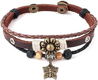 JewelryJo Gypsy Boho Hippie Bohemian Love Heart Lucky Elephant Dragonfly Butterfly Fleur-de-lis Leather Braided Rope Beads 8 inch Bracelets for Women
