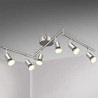 Plafonnier LED 6 Spots Orientables,6X 3.5W Ampoule GU10,380lm, blanc chaud, Nickel mat,pots plafond orientables, éclairage...
