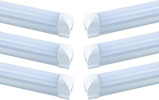 JLLEAD 6 Pack T8 Led 5FT 24W Integrated Tube Light Utility Connectable 5 Foot Under Cabinet Lamp White Daylight 6000k Beer Cooler Lamp Single Strip Indoor Shop Lighting