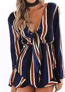 LINGMIN Women's V Neck Jumpsuit Striped Long Sleeve Front Tie Elastic Waist Playsuits