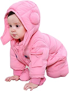 Vine Baby Snowsuits Hooded Rompers, Winter Overalls Jumpsuits for Boys and Girls 3pcs