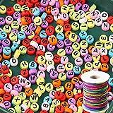 ZesNice 1200 Stück Buchstabenperle, Bunt Rund Buchstaben Perlen zum Auffädeln mit 50 m Elastisch Schnur, Bastelset für Armband Basteln