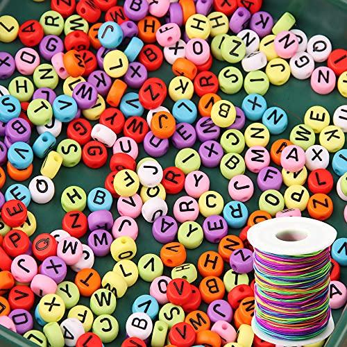 ZesNice 1200 Stück Buchstabenperle, Bunt R& Buchstaben Perlen zum Auffädeln mit 50 m Elastisch Schnur, Bastelset für Armband Basteln
