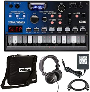 Korg VOLCA NUBASS Vacuum Tube Analog Synthesizer with Power Supply, Case, Headphones and MIDI Cable Bundle (5 Items)