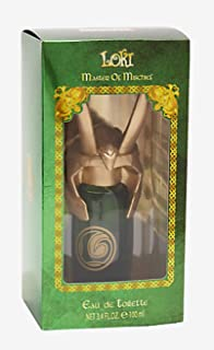 Marvel Loki Master Of Mischief Spray Fragrance 3.4 oz green bottle with Loki helmet shaped cap.