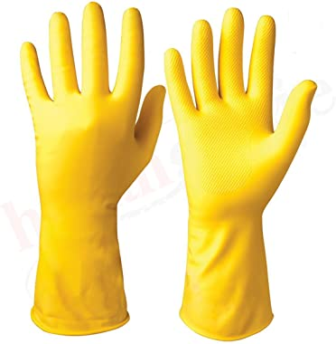 KMG® Cleaning Gloves Reusable Rubber Hand Gloves, Stretchable Gloves for Washing Cleaning Kitchen & Garden (Sunrise Yello