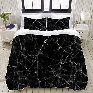 LONSANT Black Marble College Dorm Room Decor Decorative Custom Design 3 PC Duvet Cover Set Twin/Twin Extra Long