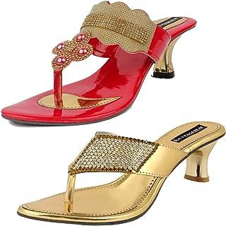 ABJ Fashion Red Slipper and Golden Slipper Combo for Women