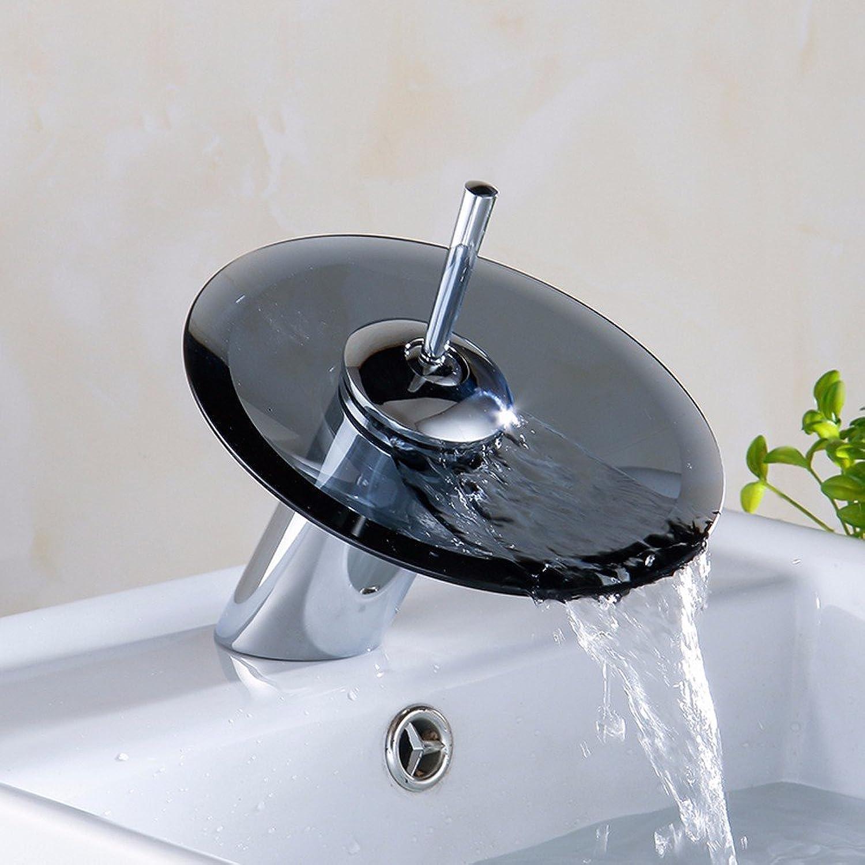 LHbox Die kupferne Becken, im Glas Wasserfall Armatur, Schwarz Waschbecken und kaltem Wasser Armaturen, Einzigen Griff Einloch Mischbatterie, Niedrig)