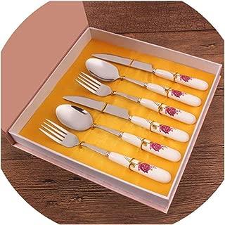 Travel Cutlery Ceramic Handle Stainless Steel Fork Steak Posate Flatware Set Peralatan Makan Camping Dinnerware,as picture